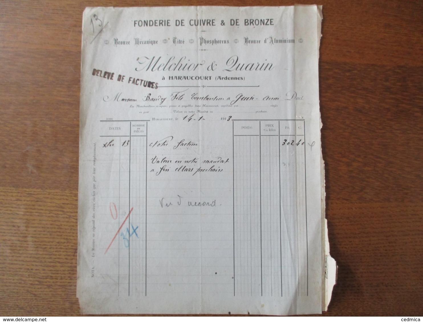 HARAUCOURT ARDENNES MELCHIOR & QUARIN FONDERIE DE CUIVRE & DE BRONZE RELEVE DE FACTURES DU 14-1-1913 - France