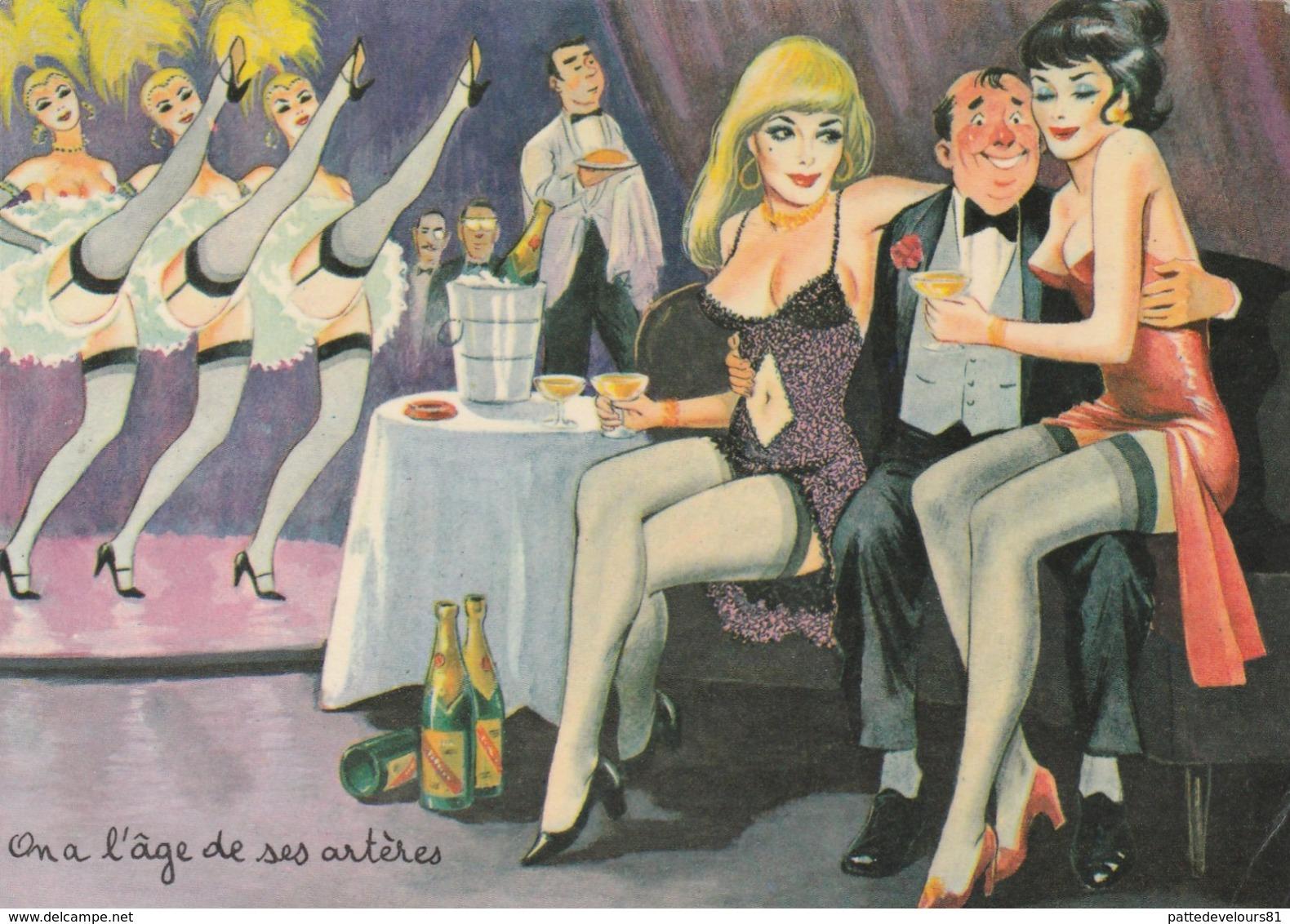 CPSM Pin-up Sexy Glamour Bas Entraîneuse Prostituée French Cancan Pigeon Illustrateur L. CARRIERE N° 50354 (2 Scans) - Carrière, Louis