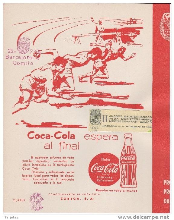 II JUEGOS MEDITERRANEOS DE BARCELONA DEL 16 AL 25 JULIO DEL 1955 CON DOBLE SELLO DEL C.O.E (COCA-COLA-COKE) - Affiches Publicitaires