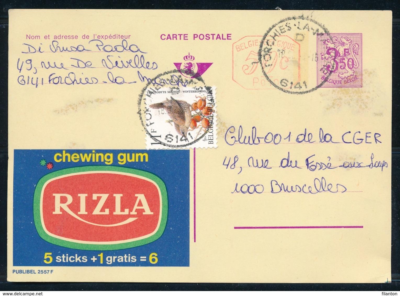 """PUBLIBEL Nr 2557F - Chewing Gum RIZLA - Cachet """"FORCHIES-LA-MARCHE 6141"""" - Enteros Postales"""