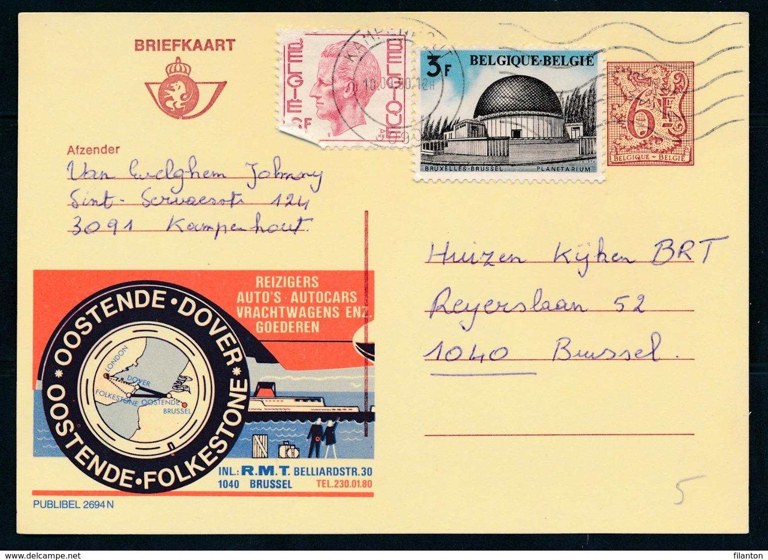"PUBLIBEL Nr 2694N - R.M.T. Oostende-Dover - Oostende-Folkestone Cachet ""KAMPENHOUT"" - Enteros Postales"