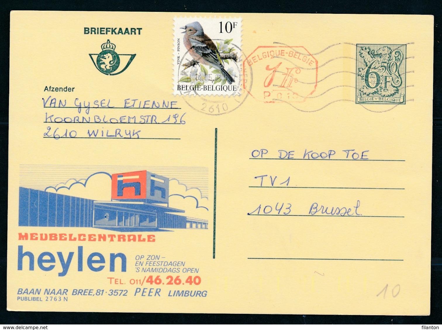 PUBLIBEL Nr 2763N - Meubelcentrale Heylen - Stamped Stationery
