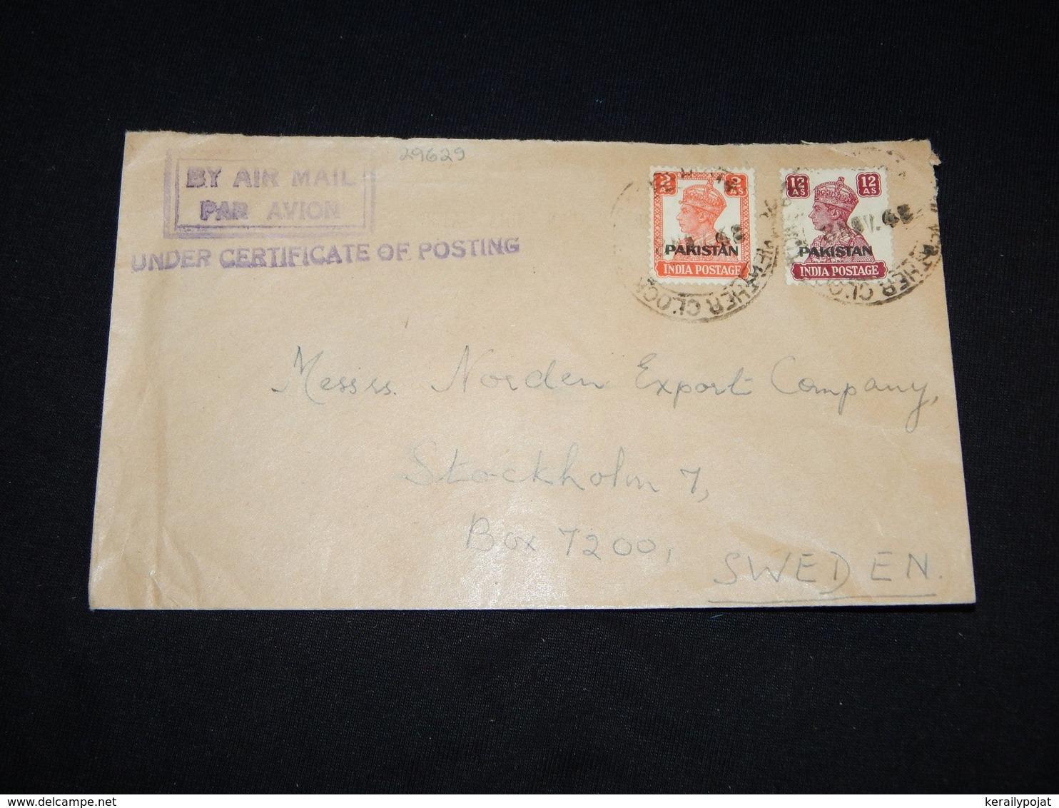 Pakistan 1948 Air Mail Cover To Sweden__(L-29629) - Pakistan