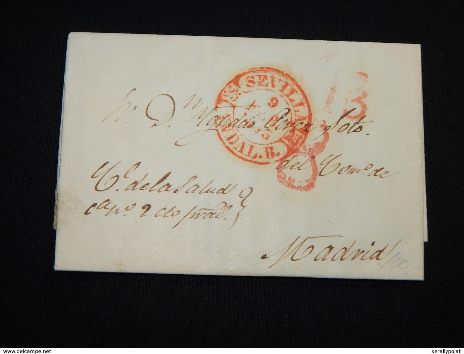 Spain 1843 Sevilla Prephilately Letter__(L-29304) - Spagna