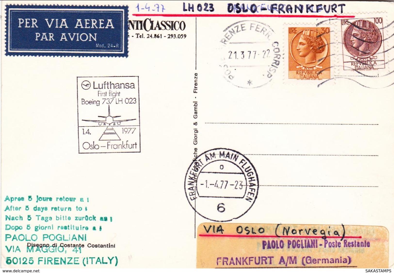 1977-cartolina Illustrata Chianti Classico Volo Speciale Boeing 737 Della Lufthansa Oslo Francoforte Del Primo Aprile - 6. 1946-.. Repubblica