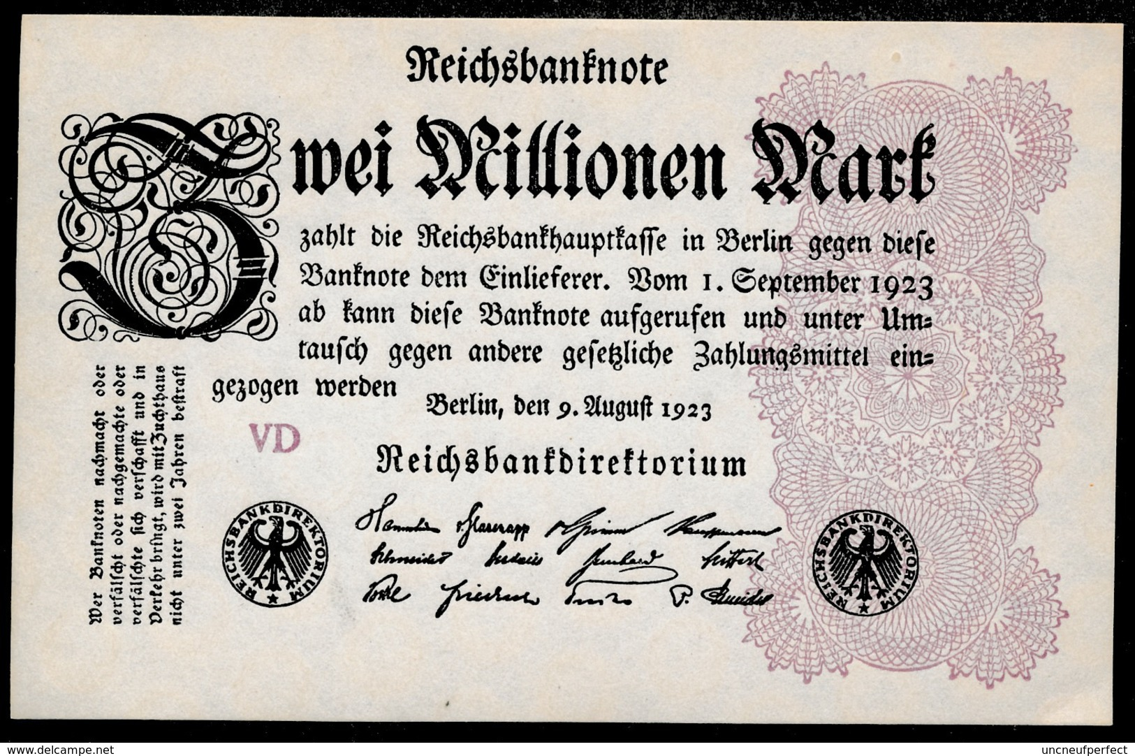 Pick104b Ro103c DEU-116c  2 Million Mark 1923 NEUF - [ 3] 1918-1933 : Repubblica  Di Weimar