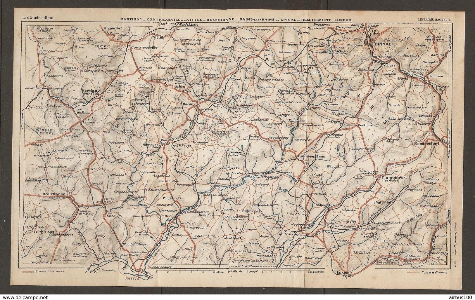 CARTE PLAN 1928 - MARTIGNY CONTREXEVILLE VITTEL BOURBONNE BAINS Les BAINS EPINAL REMIREMONT LUXEUIL - Topographical Maps