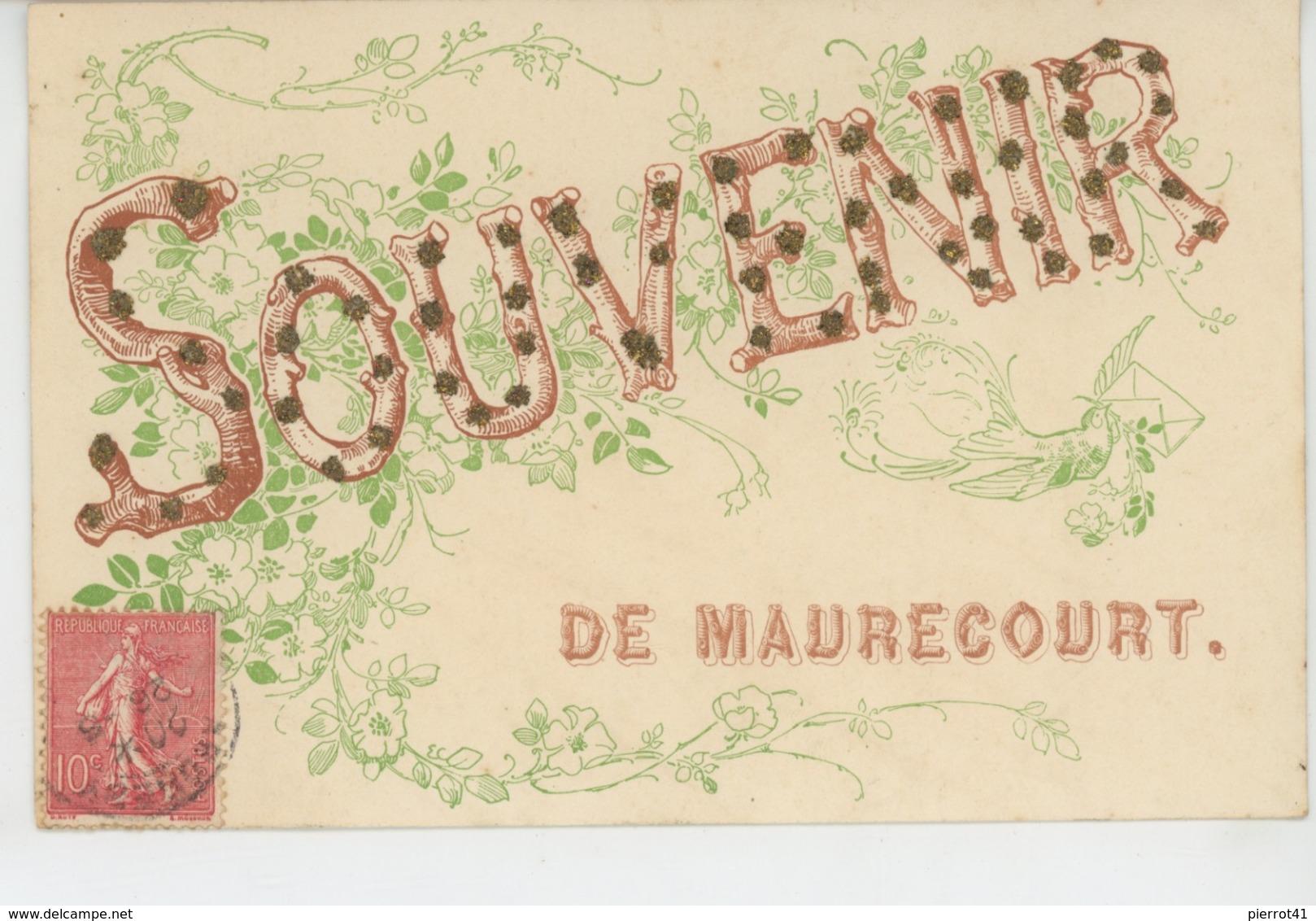 """MAURECOURT - Jolie Carte Fantaisie Avec Paillettes """"Souvenir De MAURECOURT """" - Maurecourt"""