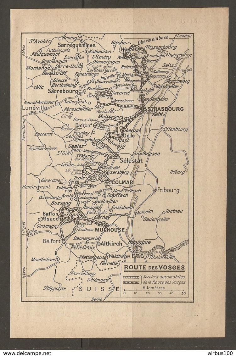 CARTE PLAN 1928 - ROUTE DES VOSGES - SERVICE AUTOMOBILE DE LA ROUTE DES VOSGES - Topographical Maps