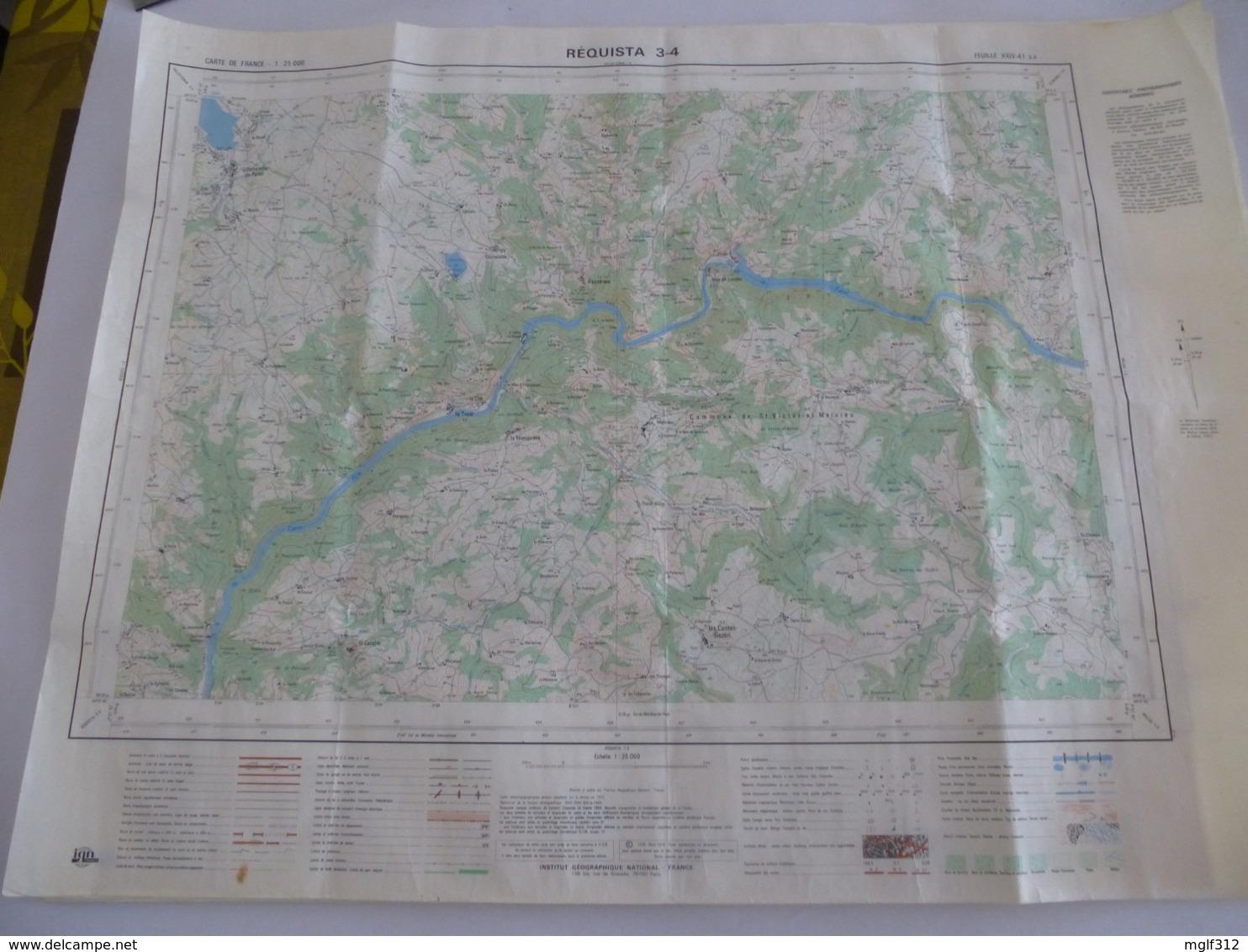 REQUISTA (12) LOT De 2 CARTES  IGN Au 1/25000 - Feuille 3/4 Et 7/8- Détails Voir Les Scans - Topographical Maps