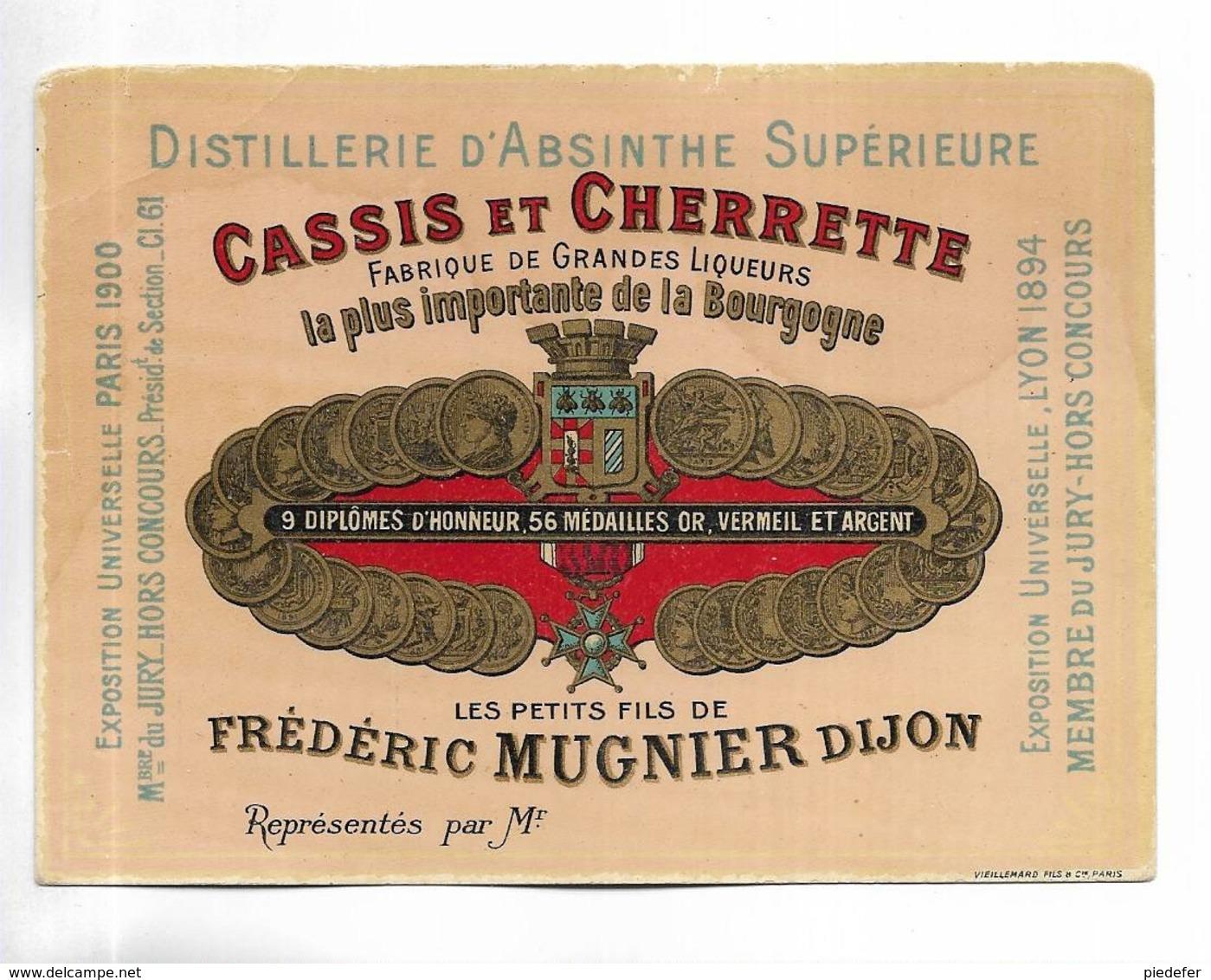 """RARE étiquette """" Distillerie D' Absinthe Supérieure, CASSIS Et CHERRETTE, Frédéric MUGNIER à DIJON """" - Labels"""