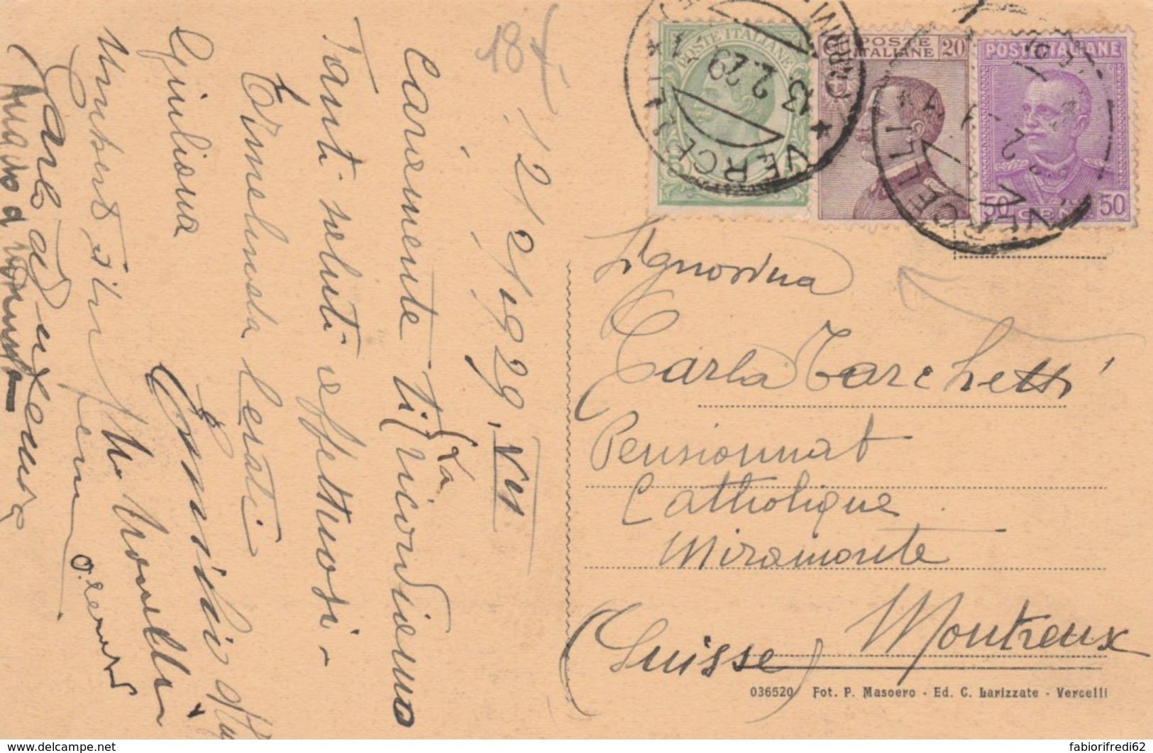 CARTOLINA 1929 5+20+50 C. TIMBRO VERCELLI  (IX999 - 1900-44 Vittorio Emanuele III