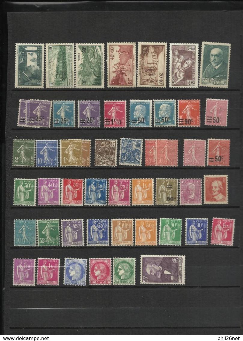 France    Lot  Timbres Neufs   * * / *  Et  ( *)   Entre  1900 à 1950  B/TB      Bonne Cote     Bradés   à  Saisir ! ! ! - Stamps