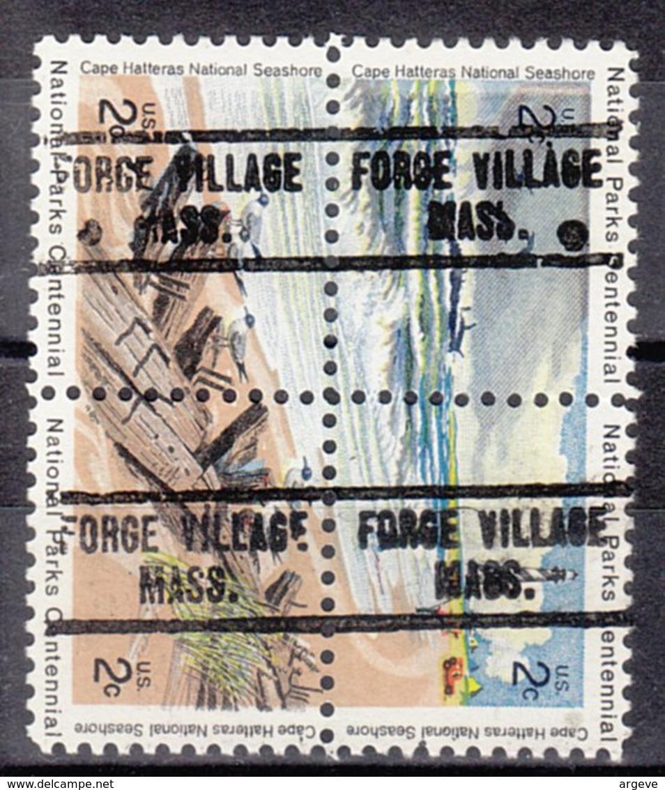 USA Precancel Vorausentwertung Preo, Locals Massachusetts, Forge Village 734, Hatteras Block - Vorausentwertungen