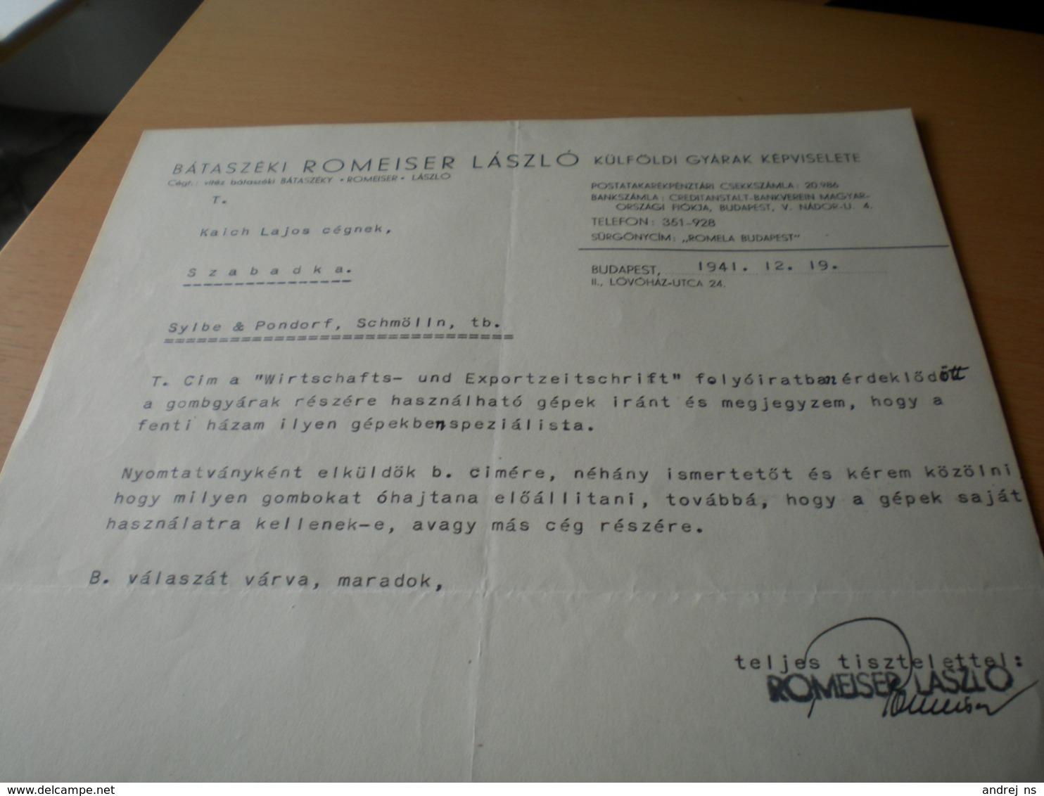 Budapest Bataszeki Romeiser Laszlo - Facturas & Documentos Mercantiles