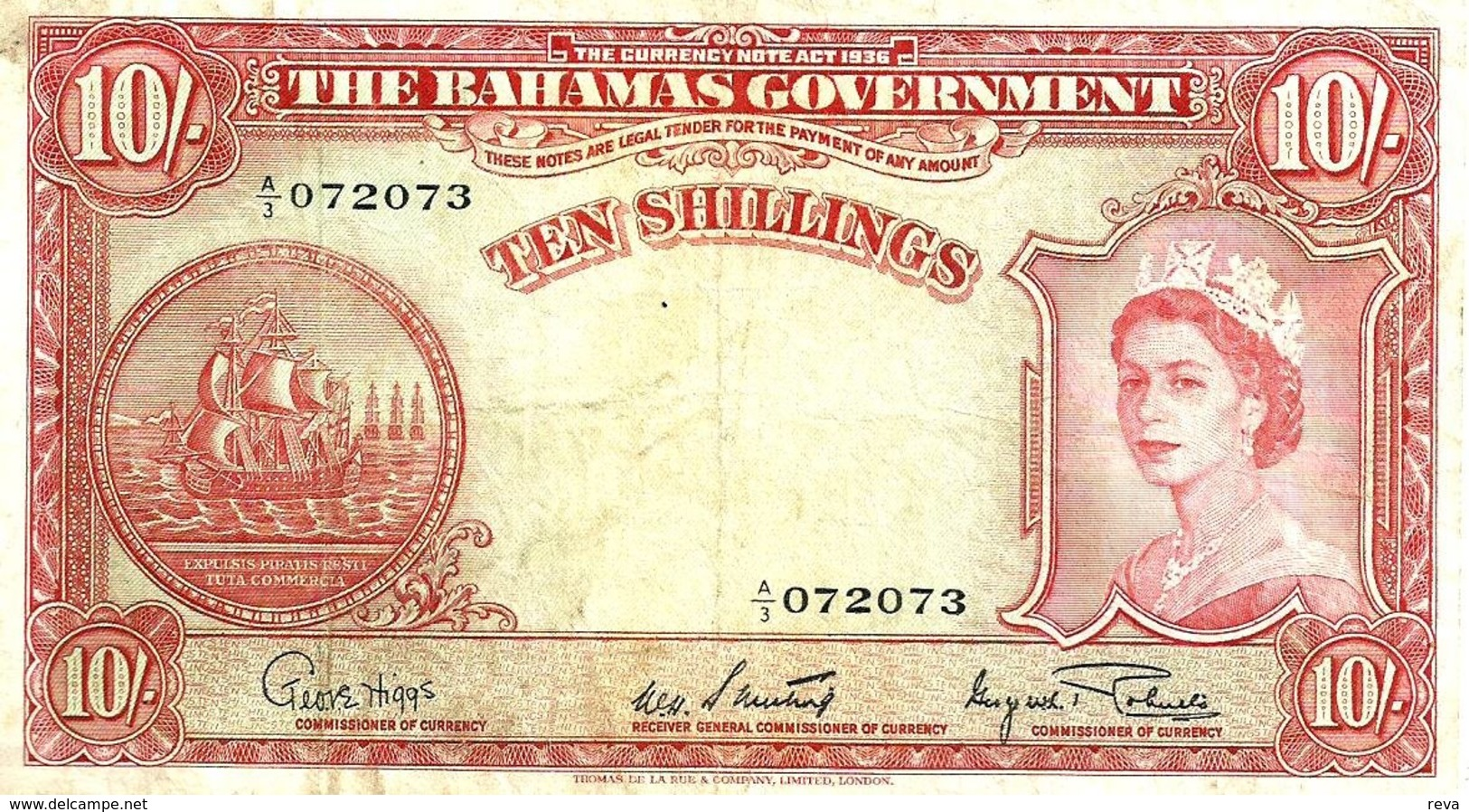 BAHAMAS ISLANDS BRITISH 10 SHILLINGS RED WOMAN QEII HEAD SHIP FRONT ARMS BACK ND(1953) AVF P.14a READ DESCRIPTION !! - Malawi
