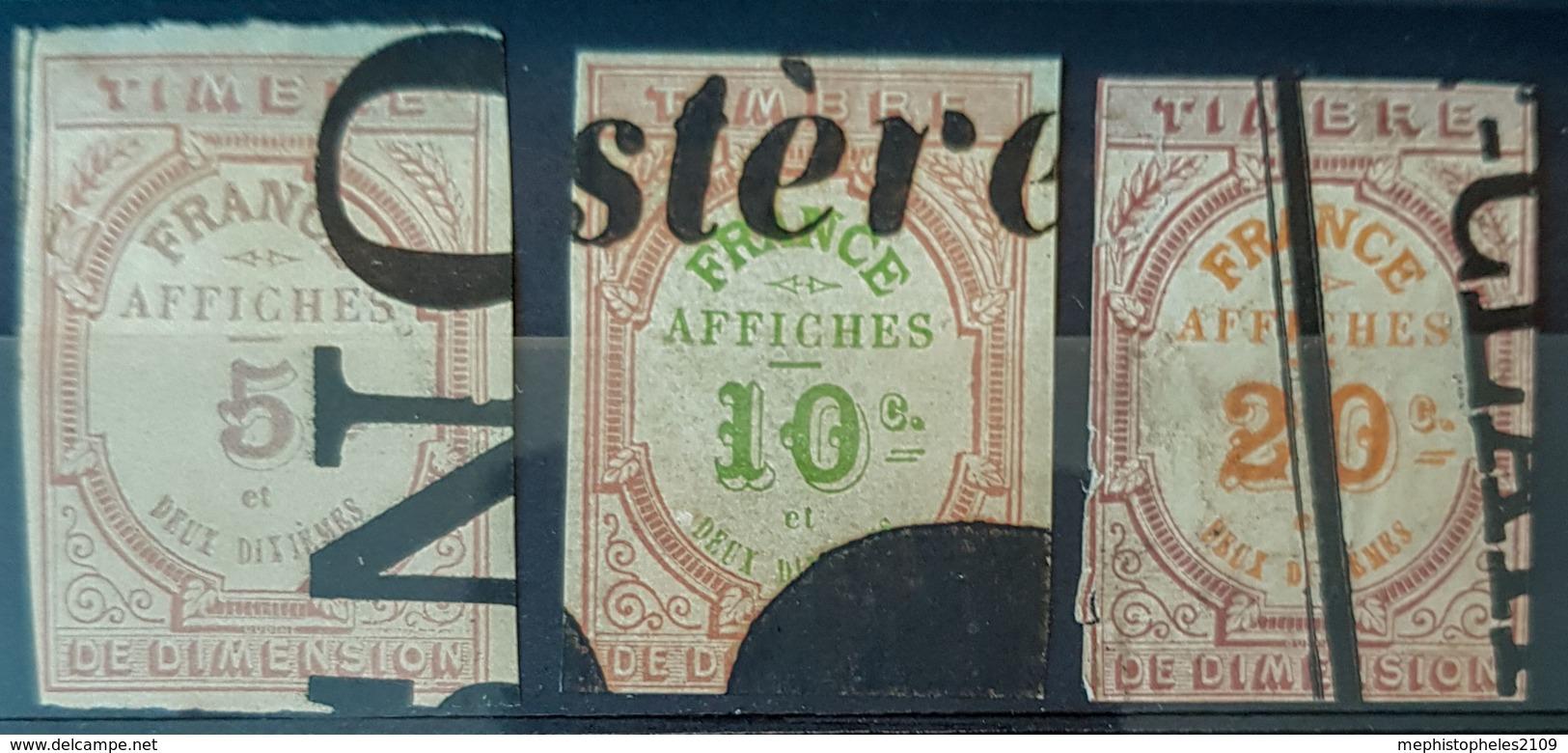 FRANCE 1872 - Canceled - Timbres Affiche - YT 1, 2, 3 - Fiscaux