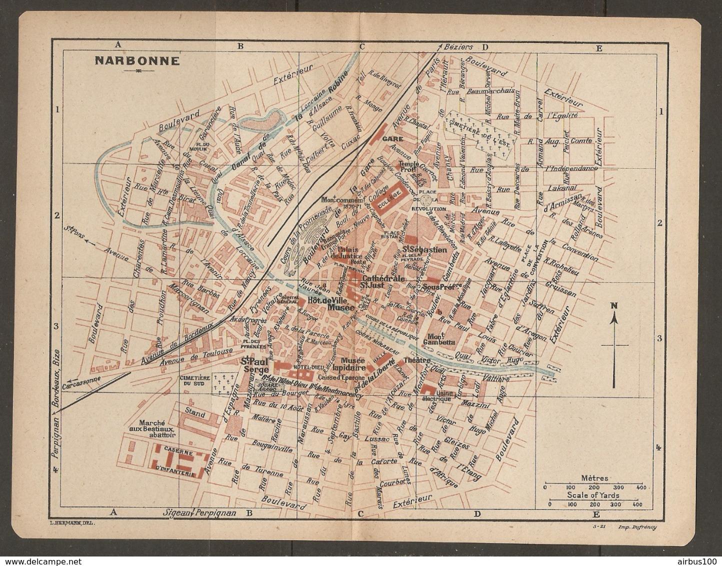 CARTE PLAN 1921 - NARBONNE BOULEVARD EXTERIEUR MARCHE Aux BESTIAUX CASERNE D'INFANTERIE MUSEE LAPIDAIRE - Mapas Topográficas