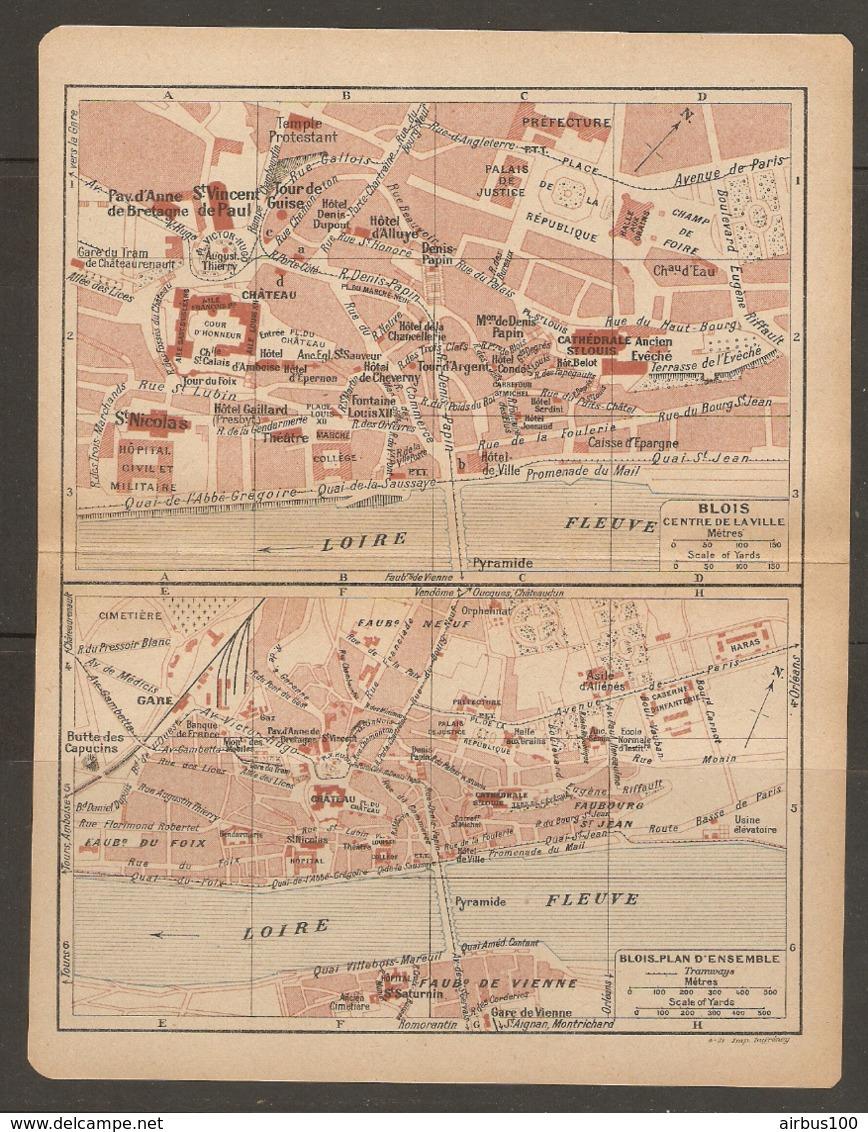 CARTE PLAN 1921 - BLOIS PLAN D'ENSEMBLE Et CENTRE VILLE BANQUE DE FRANCE HARAS BUTTE DES CAPUCINS - Topographical Maps