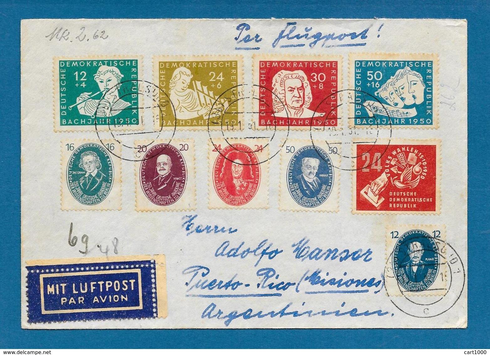 1951 DDR DEUTSCHE DEMOKRATISCHE REPUBLIK STRALSUND TO ARGENTINA + DEUTSCHE POST - [6] Repubblica Democratica