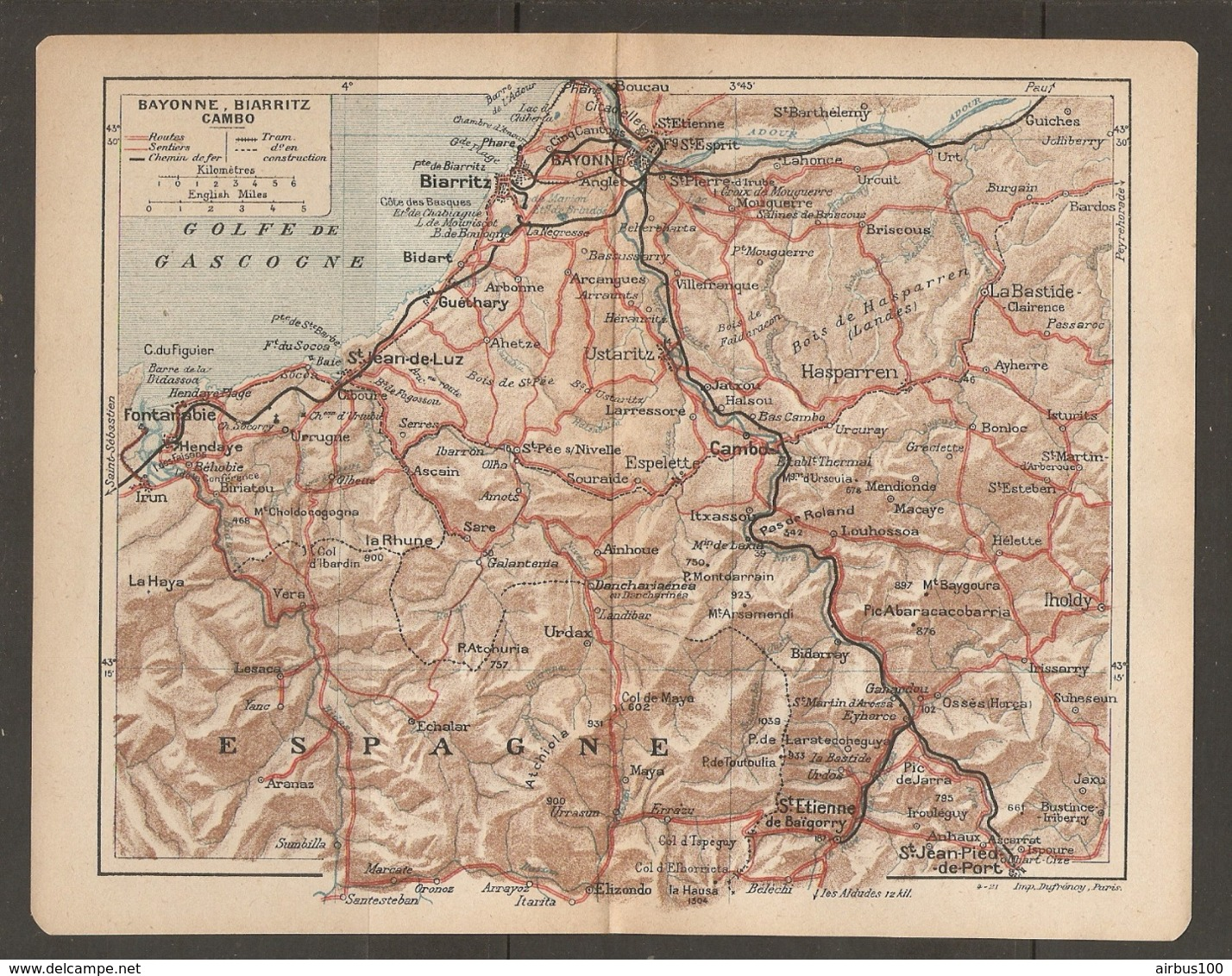 CARTE PLAN 1921 - BAYONNE BIARRITZ CAMBO - ESPAGNE SPAIN - IHOLDY IRUN FONTARABIE URDAX La BASTIDE - Topographical Maps