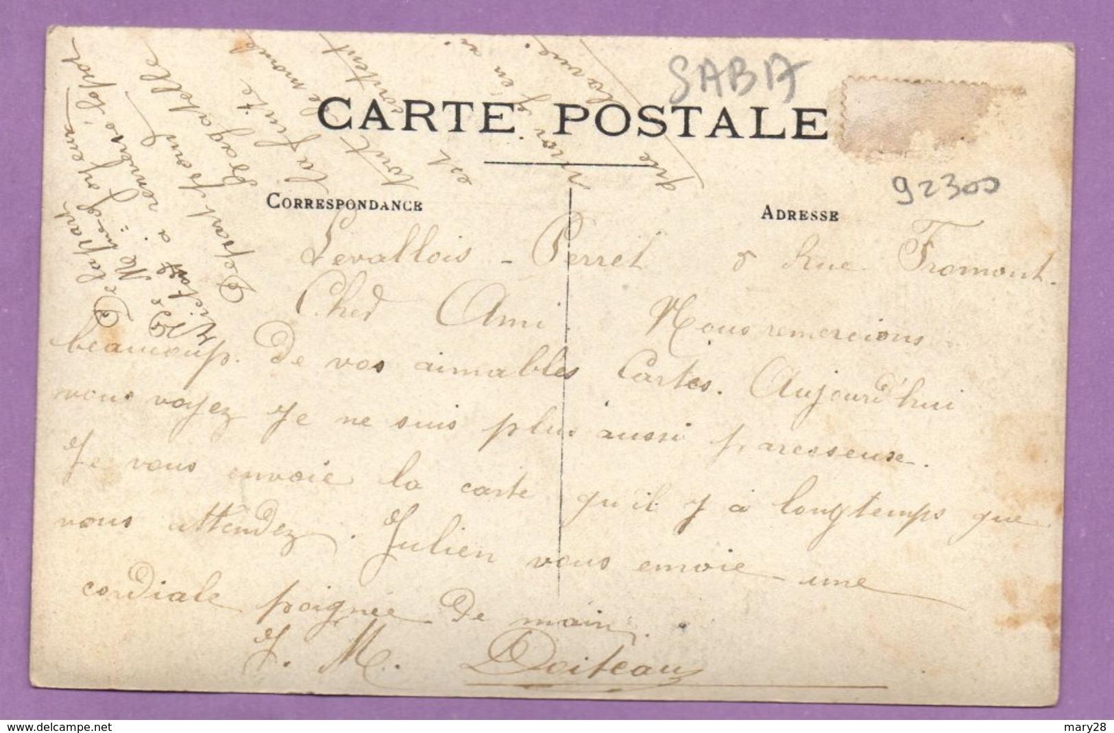 Carte Postale Levallois Perret 5 Rue Fromont Noté Sur Le Verso De La Carte - à Determiner - France