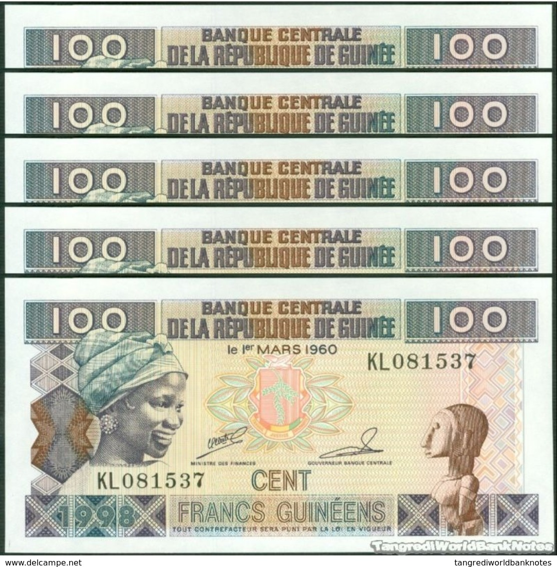 TWN - GUINEA 35a2 - 100 Francs 1998 DEALERS LOT X 5 - Prefix KL UNC - Guinea