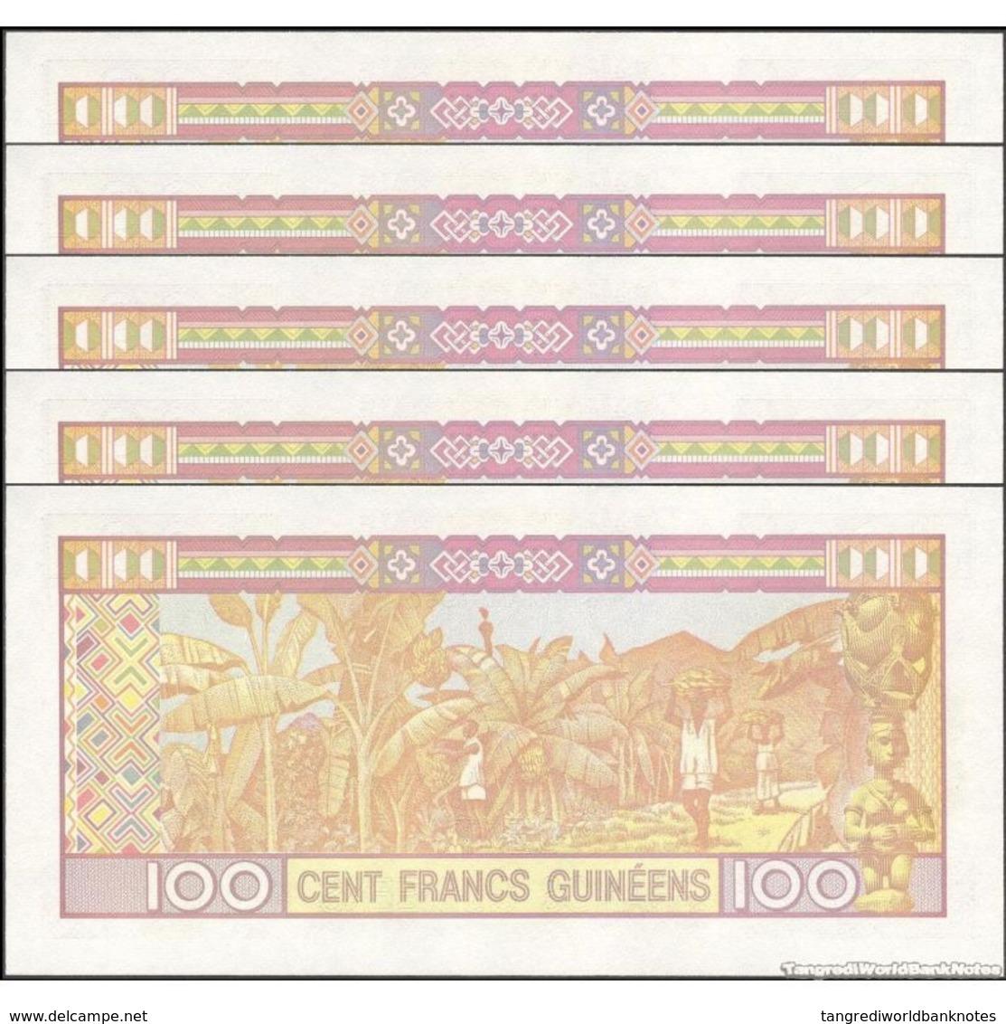 TWN - GUINEA 35b - 100 Francs 2012 DEALERS LOT X 5 - Prefix BV UNC - Guinea
