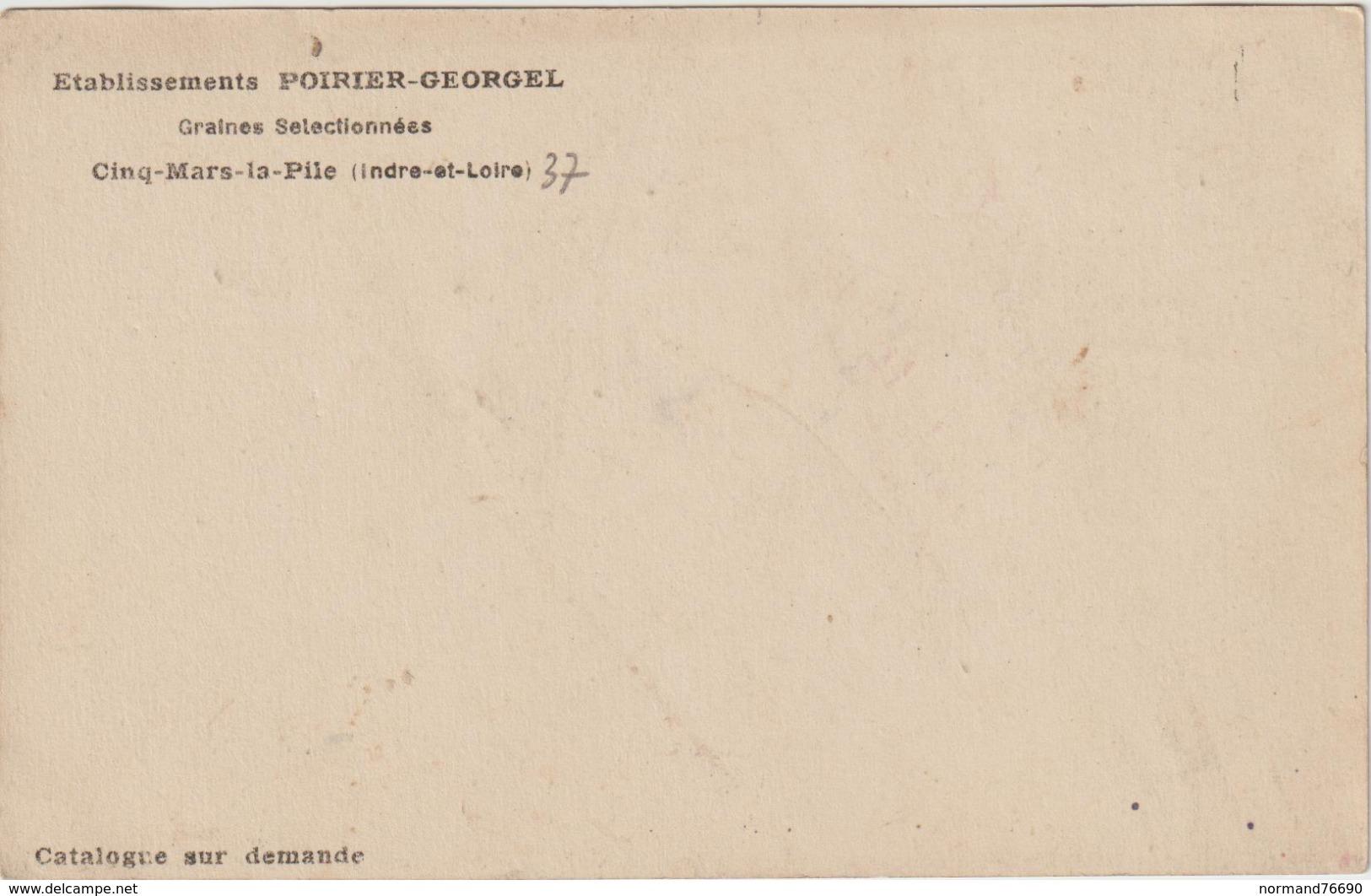 CPA    37  CINQ MARS LA PILE    ETS POIRIER GEORGEL BATTAGE  DE GRANDE CULTURES SELECTIONNE - Francia