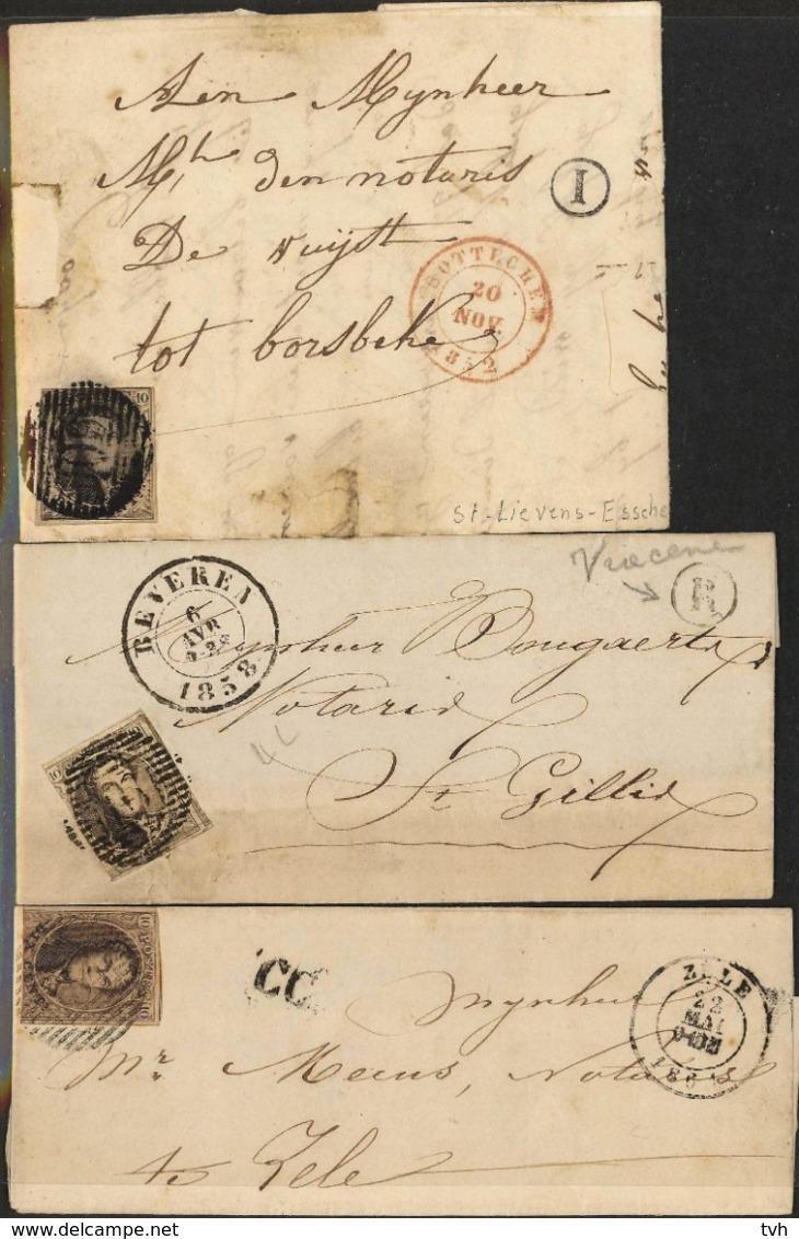 3 Briefjes Tussen 1858 En 1862 , 2 Met Postbus Letter En 1 CC - 1849-1865 Médaillons (Autres)
