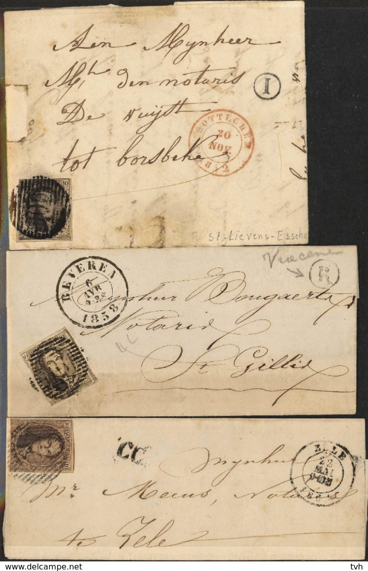 3 Briefjes Tussen 1858 En 1862 , 2 Met Postbus Letter En 1 CC - Belgique
