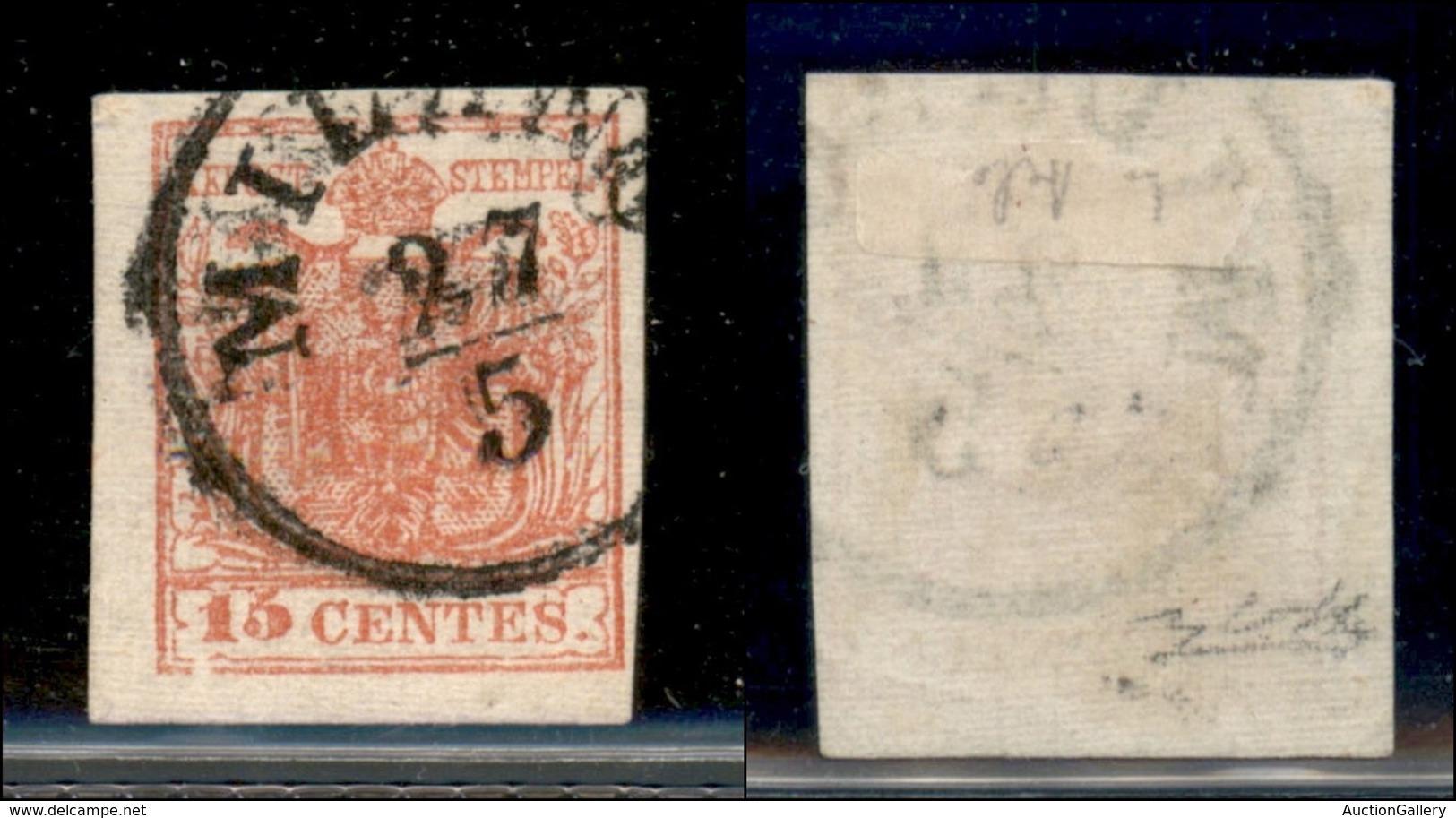 ANTICHI STATI ITALIANI - LOMBARDO VENETO - 1852 - 15 Cent (6) Usato - Carta Quadrillè - Clichè Difettoso In Basso A Sini - Sin Clasificación