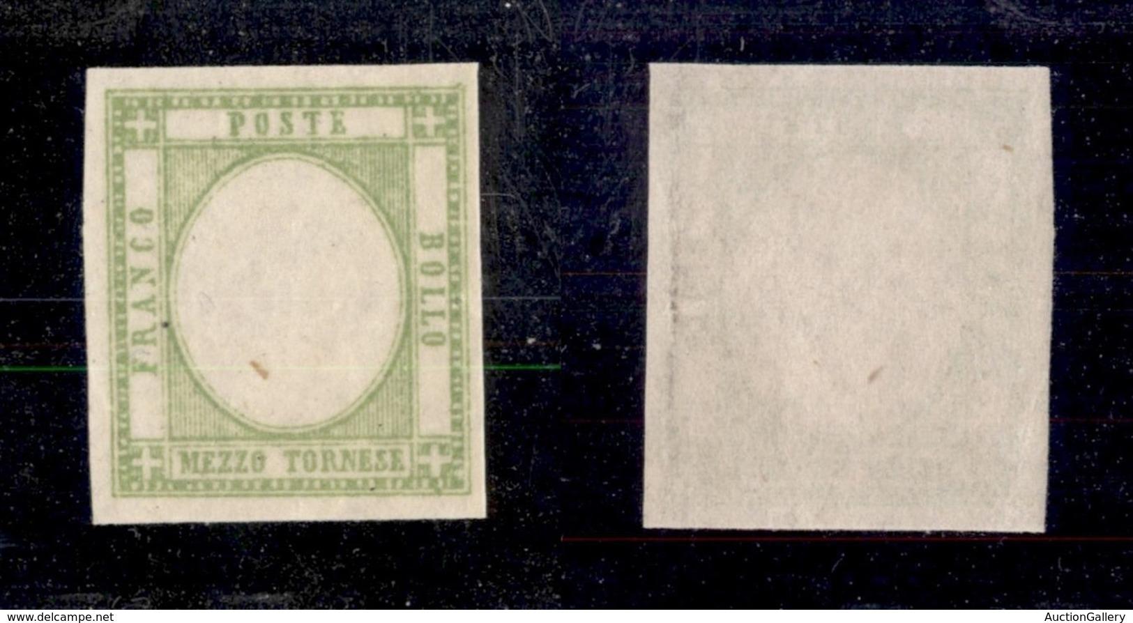 ANTICHI STATI ITALIANI - NAPOLI - 1861 - Prove - Mezzo Tornese (17ala) Gommato Al Recto  Senza Effigie - Gomma Integra - Sellos