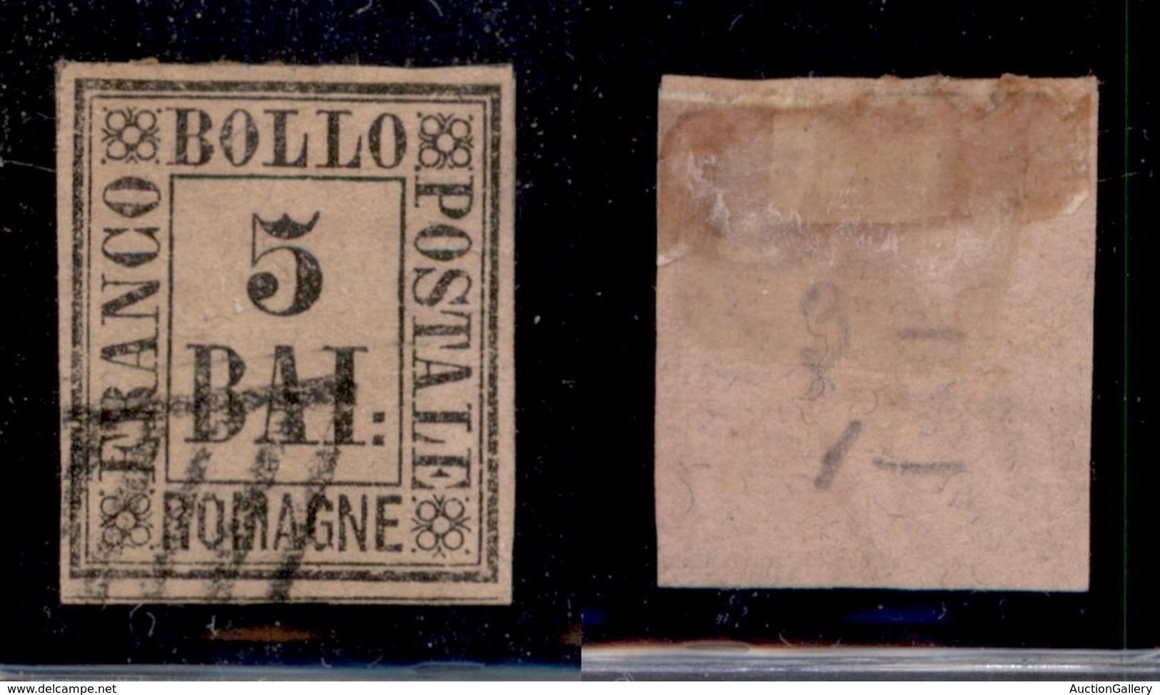 ANTICHI STATI ITALIANI - ROMAGNE - 1859 - 5 Bai (6) Usato - Cert AG (700) - Sellos