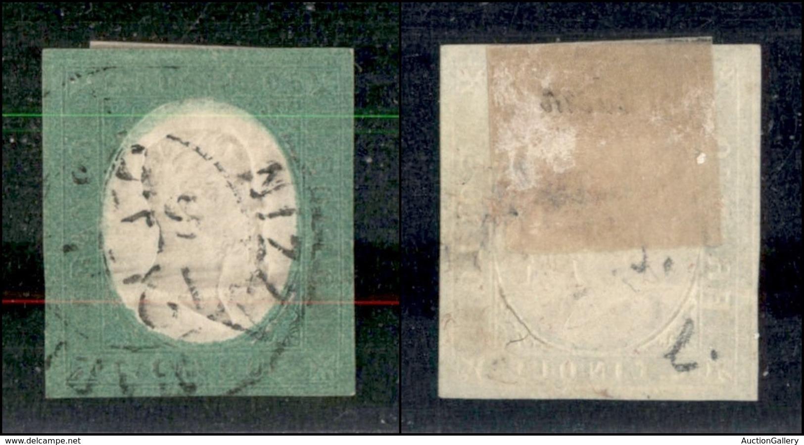 ANTICHI STATI ITALIANI - SARDEGNA - 1854 - 5 Cent (7) Usato A Nizza - Margini Precisi - Appena Stretto In Basso (1.200) - Sin Clasificación