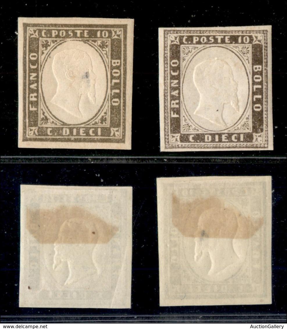 ANTICHI STATI ITALIANI - SARDEGNA - 1861 - 10 Cent (14C) - Due Colori Diversi - Gomma Originale - Un Pezzo Con Assottigl - Sin Clasificación
