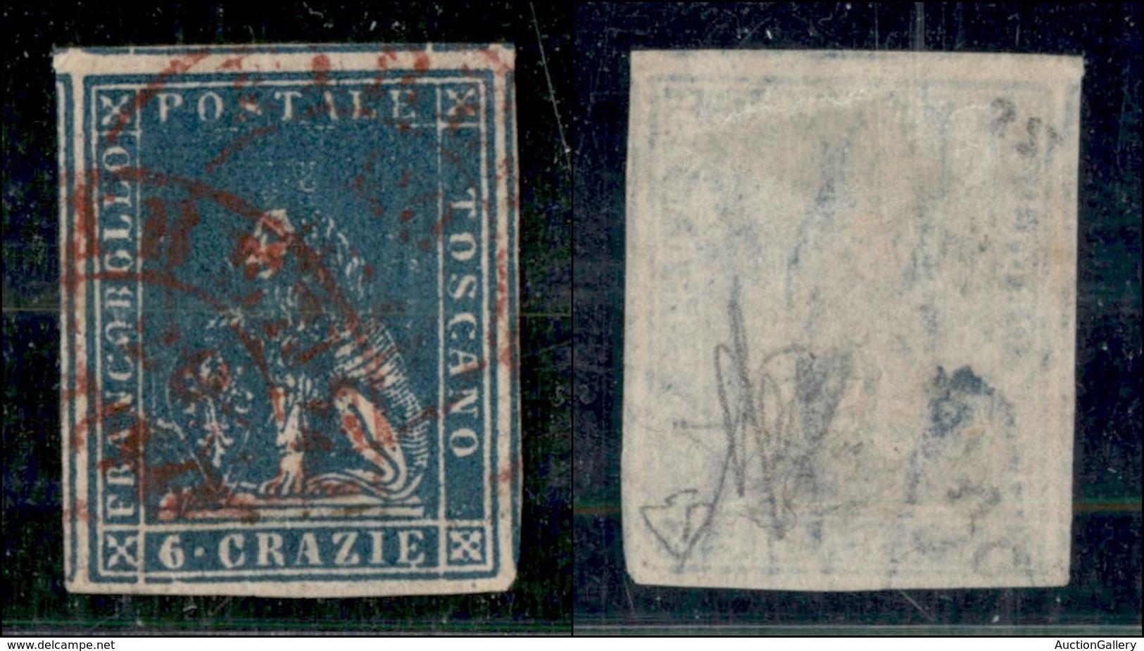 ANTICHI STATI ITALIANI - TOSCANA - 1857 - 6 Crazie (15) Usato - Grandi Margini (5 Vicini) - Leggero Assottigliamento Al  - Sin Clasificación