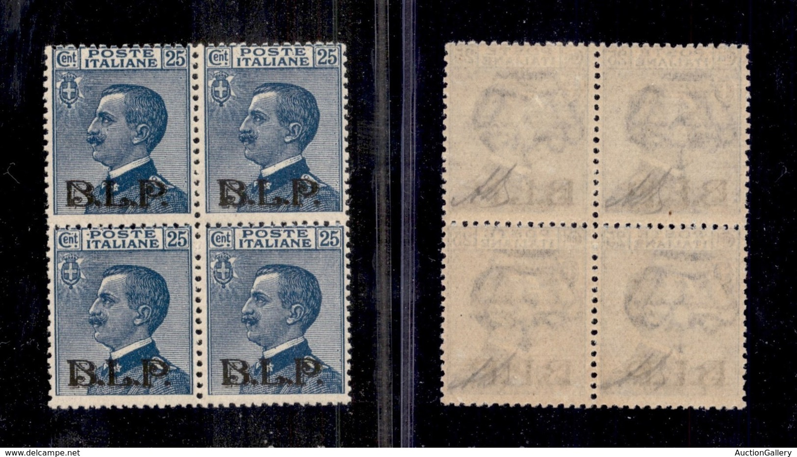 REGNO - B.L.P - 1922 - 25 Cent (8) In Quartina - Filigrana Capovolta - Gomma Integra - Non Catalogato - Stamps