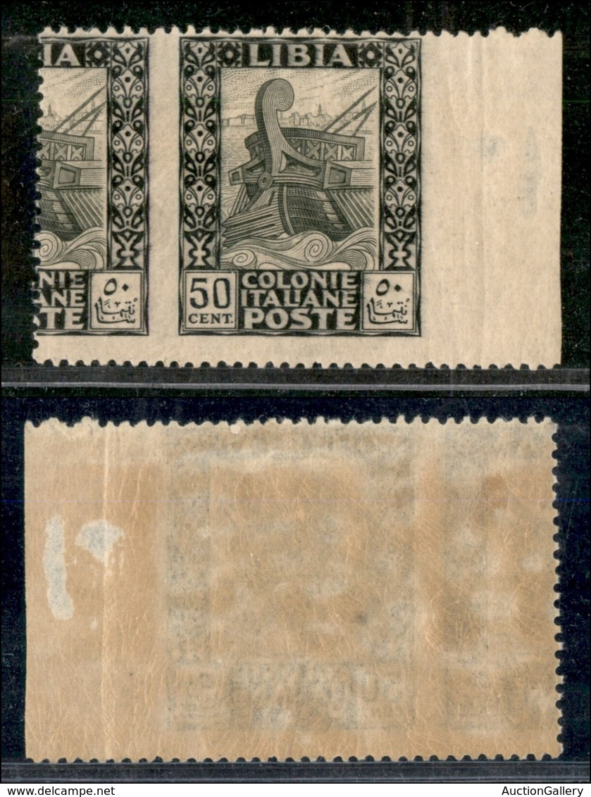 COLONIE - LIBIA - 1924 - 50 Cent Pittorica (51sa - Varietà) Bordo Foglio - Non Dentellato In Verticale Con Parte Di Altr - Non Classificati
