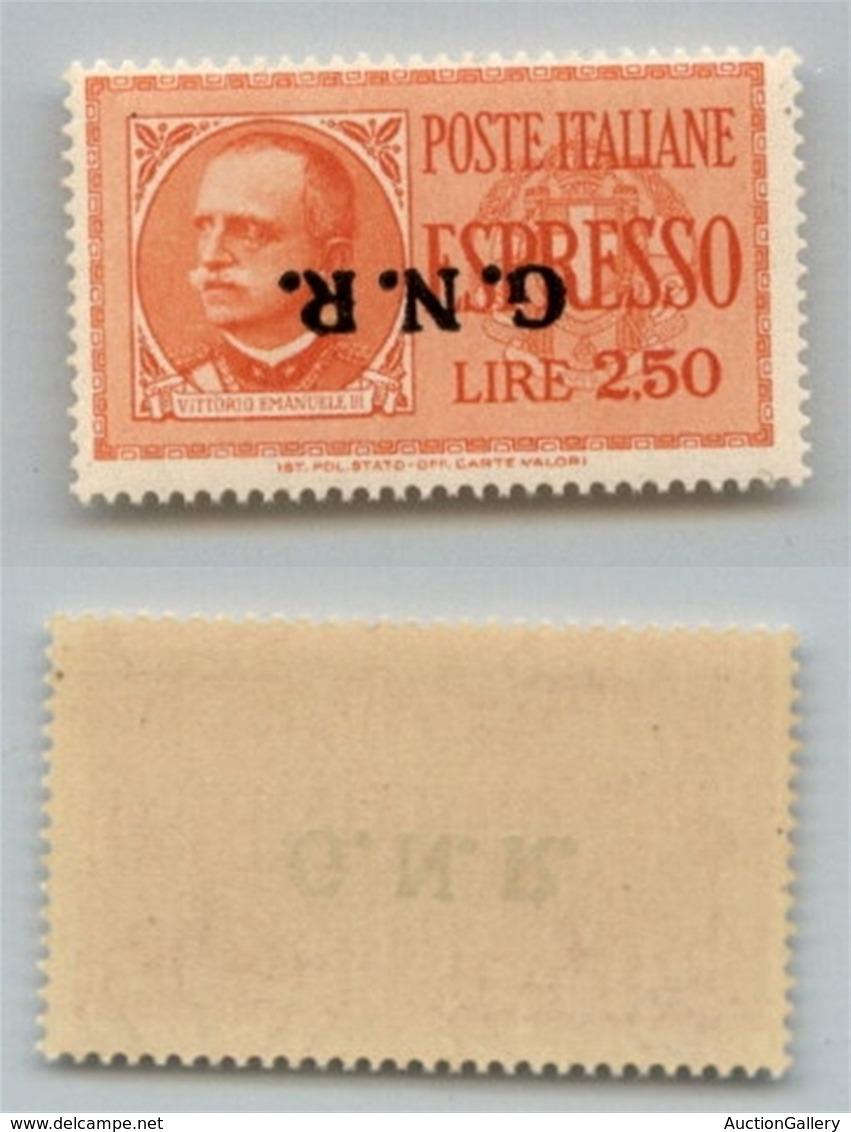 RSI - G.N.R. Verona - Espressi - 1944 - 2,50 Lire (20a) Con Soprastampa Capovolta - Gomma Integra - Cert. AG (1.600) - Non Classés