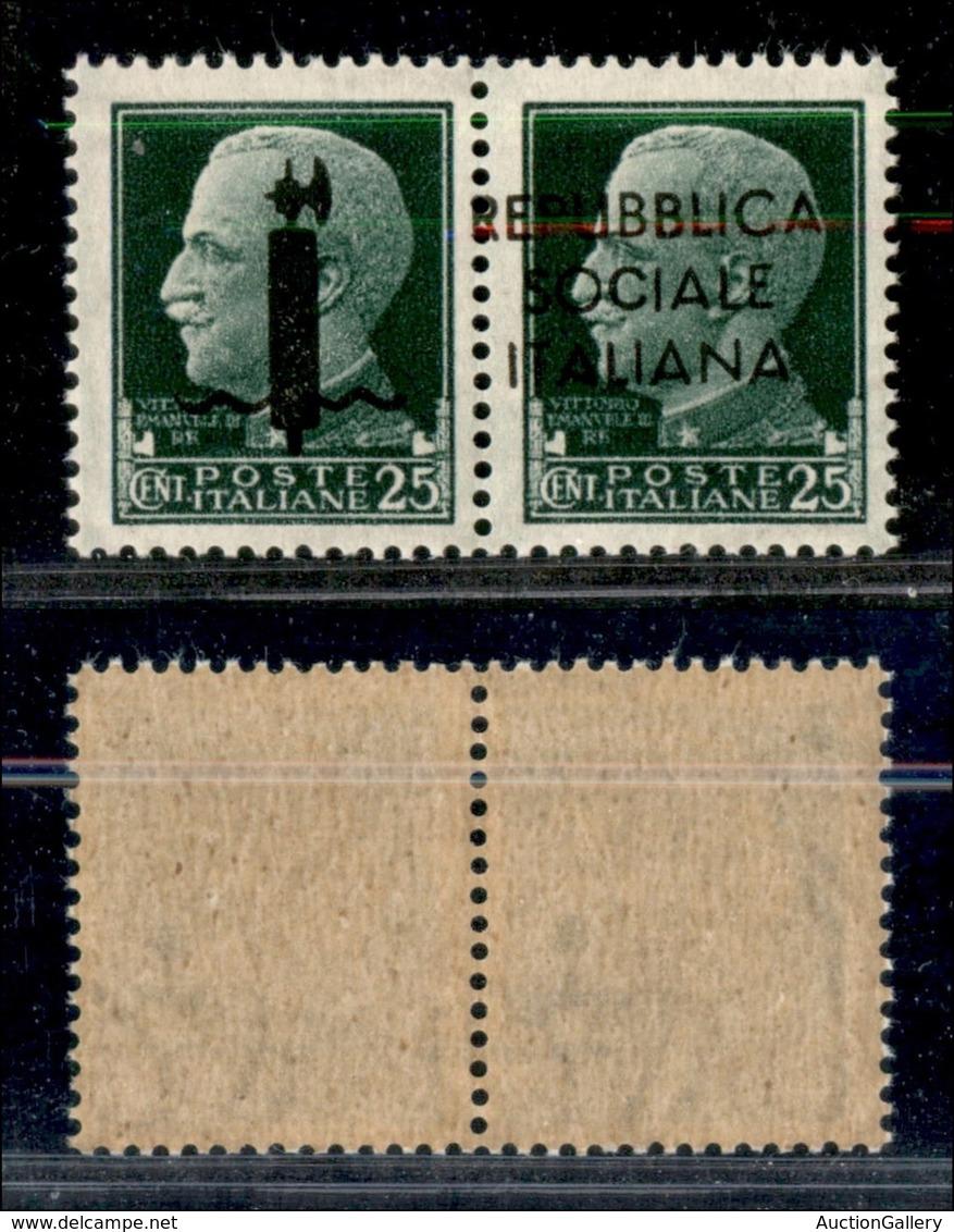 RSI - Saggi-Genova - 1944 - 25 + 25 Cent (P6a) Con Soprastampa Spostata (R A Cavallo) - Gomma Integra - Cert. AG (1500) - Sellos