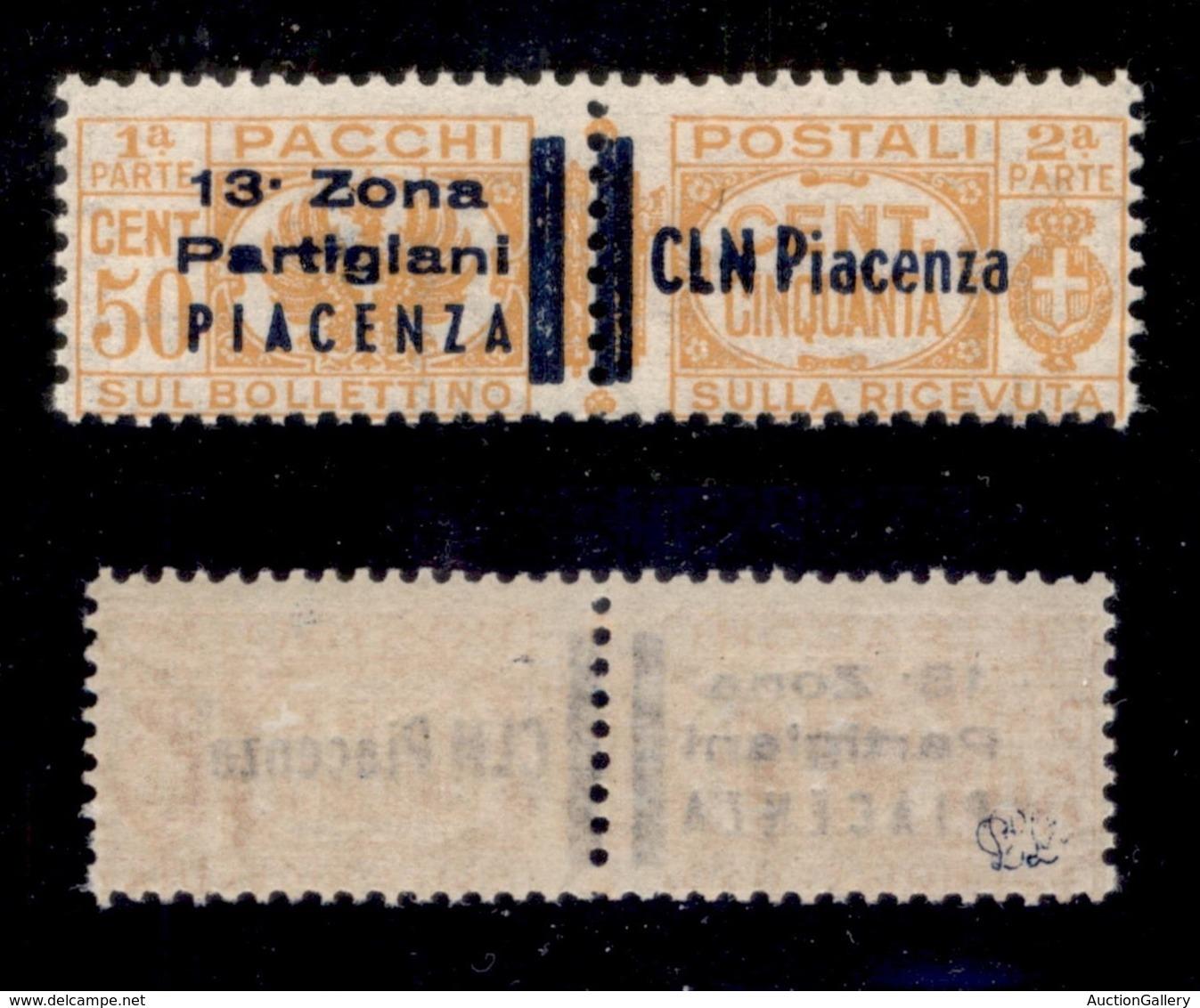 C.L.N. - PIACENZA - 1945 - 50 Cent Pacchi (Errani 31) - Gomma Integra - Cert. AG - Non Classificati