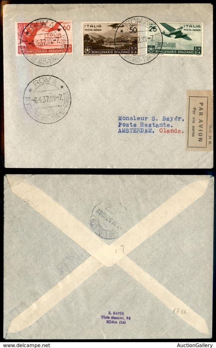 ITALIA - AEROGRAMMI - 1937 (7 Aprile) - Roma Amsterdam - Longhi 3641 Nota - 17 Volati - Sellos