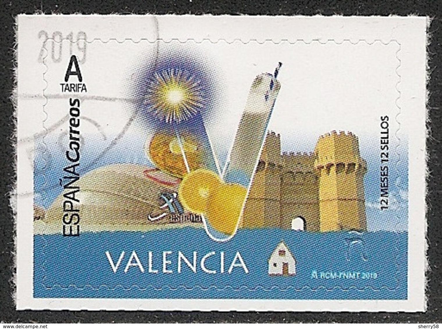 2019-ED. 5281 - 12 Meses, 12 Sellos. VALENCIA -USADO- - 1931-Today: 2nd Rep - ... Juan Carlos I