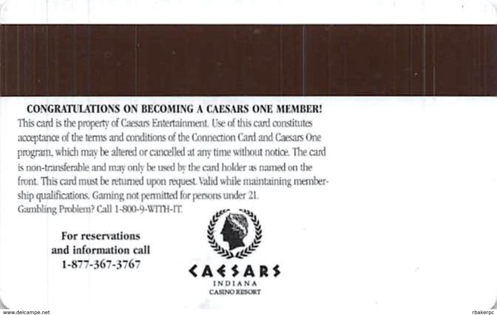 Caesars Casino - Corvdon, IN - Caesars One Slot Card With Purple Strip - Casino Cards