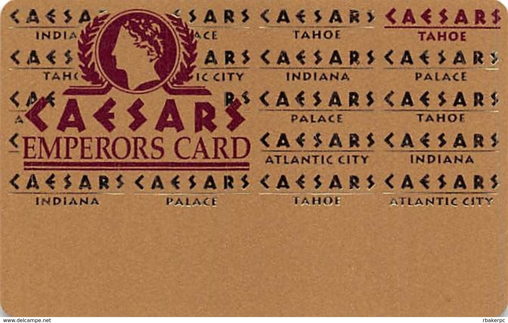 Caesars Casino Lake Tahoe, NV BLANK Slot Card - 5 Line Pattern - Cpi 2001799 Over Mag Stripe - Casinokarten