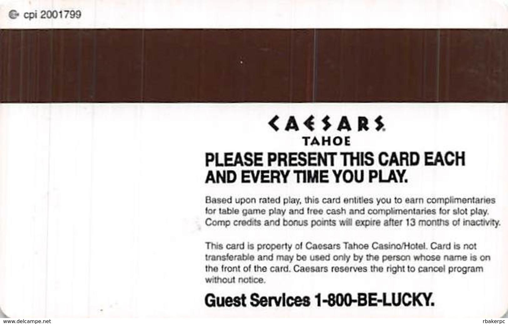 Caesars Casino Lake Tahoe, NV BLANK Slot Card - 5 Line Pattern - Cpi 2001799 Over Mag Stripe - Casino Cards