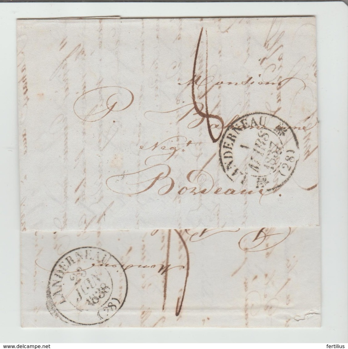 """FINISTERE : """" LANDERNEAU """" CàD Type 12 & 13 Date Améliorée + TM 8 / 2 LAC De 1837 & 38 TB - Storia Postale"""