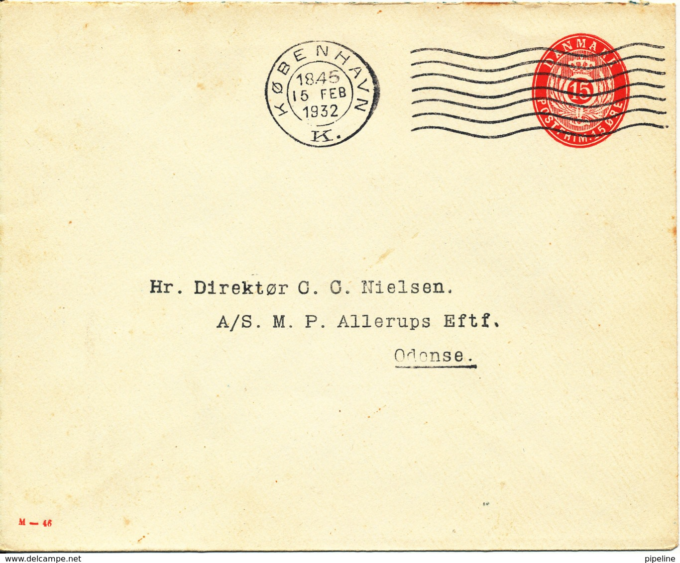 Denmark Postal Stationery Cover 15 öre M - 46 Copenhagen 15-2-1932 (Nice Cover) - Entiers Postaux