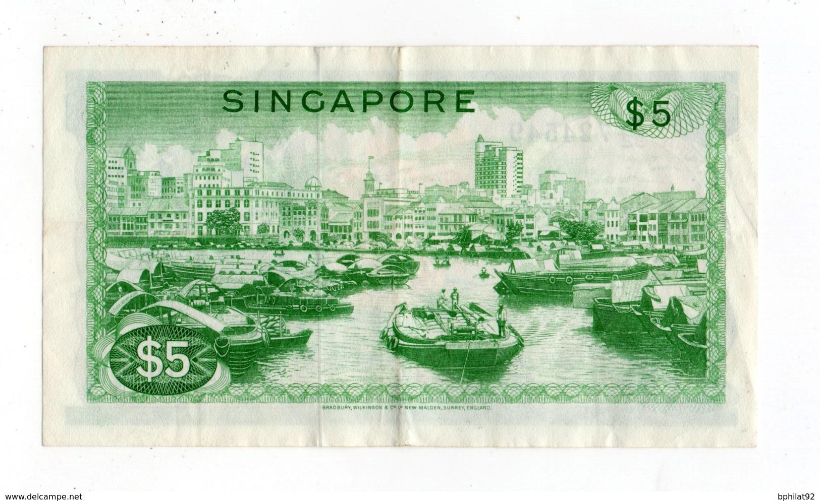 !!! PRIX FIXE : SINGAPOUR, BILLET DE 5 DOLLARS BON ETAT - Singapore